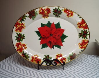 Vintage Christmas Poinsettia Serving Tray Large Oval Plastic Serve Ware Platter