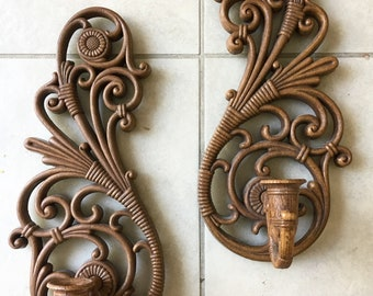 1978 Candle Filigree Sconces Set/2 Lightweight Wall Hanging Wall Decor
