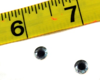Small Glass Eyes 6mm Flatback Cabochons in Sparkling Steel Grey - Set of 2 for Taxidermy, Jewelry Making, or Art Dolls