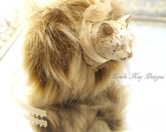 Furry Cat Art Doll Ornament Faux Fur Brown White Cat Kitty Cat Hanging Art Doll Lorelie Kay Original
