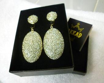 AKKAD JEWELRY. EARRINGS. Crystal with Black Accent. Akkad Earrings. Designer Parve Set. Crystal With Black Accents. Akkad Designer Earrings