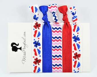 American Hair Ties, 4th of July, Memorial Day, Independence Day, Holiday, Bulk Hair Ties, Knotted, Handmade, Ponytail Holders, missponytail