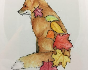 Fall Fox Watercolor - Small Painting