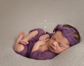 Purple Mohair Sweater Shrug and Pants Set Newborn Baby Photography Prop