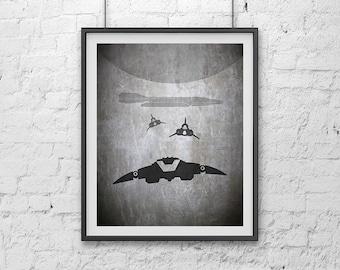 05-BSG Viper's attacking Cylon Battlestar Galactica Poster Print