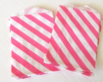 Paper bags Hot Pink Diagonal Stripe Little Bitty Bags Set of 10 goody craft birthday party candy wedding bags
