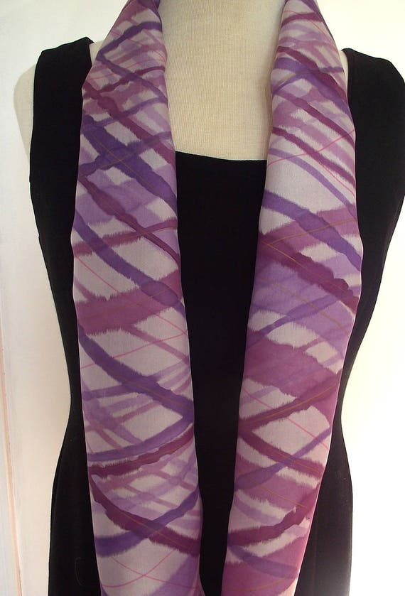 Hand Painted Silk Infinity Scarf, Purple Plaid, Lavender Background with Purple and Plum Diagonal Plaid