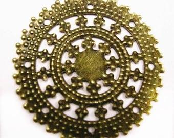 8pc 35mm antique bronze filigree wraps-4259