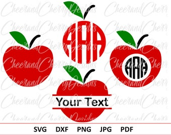 Apple Monogram Svg Red Apple SVG for Teachers Svg School Monogram Svg Apple Split Monogram Apple Cut File Cricut Silhouette Vinyl Iron on