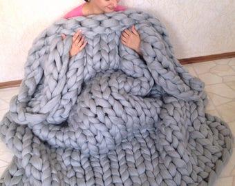 Chunky knit blanket. Chunky knit throw. Merino wool blanket. Arm knit blanket. Super thick chunky blanket. SALE merino. Fathers day gift