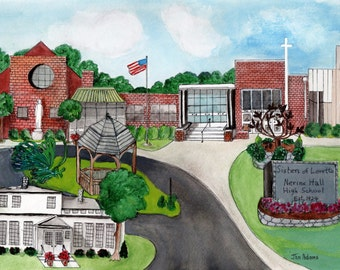 GRADUATION - Nerinx Hall High School in Webster Groves Missouri *** Watercolor Painting Collage  *** Canvas Double Mat Unframed