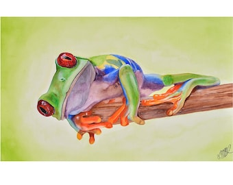 Watercolor painting fine art frog tropical print realistic