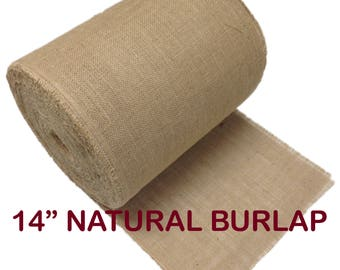 14-Inch Wide Natural Burlap Premium Vintage Jute Burlap Fabric for Upholstery, Crafts, Decor, DIY Projects with Fringed Edges - By The Yard