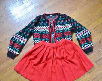 Vintage Girl's Floral and Red 2 Piece Skirt and Sweater Set Size 6