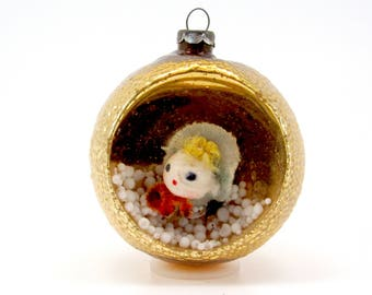 1950s Glass Diorama Christmas Ornament Vintage Holiday Christmas Decoration Bauble Spun Cotton Girl