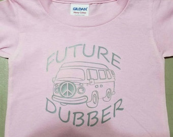 Future Dubber Happy Bus, Toddler VW T Shirt, Shown on Pink Shirt with Grey design color