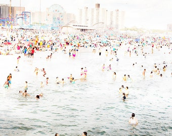 Beach People Print / Coney Island Beach Photography / Crowded Beach Photography / Beach Prints / Coney Island Brooklyn / CI Beach Peeps 2