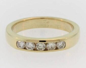 Vintage Diamond Wedding Band- 14k Yellow Gold