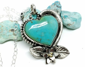 Turquoise Heart Necklace - Sterling Silver - Turquoise Heart - Artisan Jewelry - Silver Heart Necklace for women