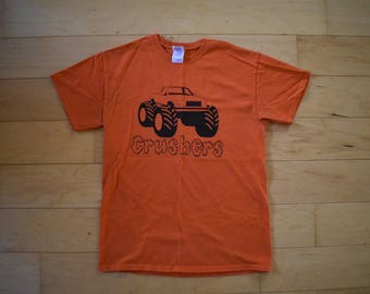 Vintage Orange Monster Truck Tee Tshirt adulte taille moyenne
