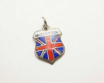 Vintage Sterling/Enamel United Kingdom Shield Charm