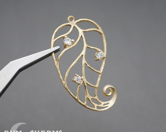 0291 - Pendant Connector, Matte Gold Plated, Swirl Tail Rhinestone Cubic Zirconia Leaf Vein Pendant, 2 Pieces