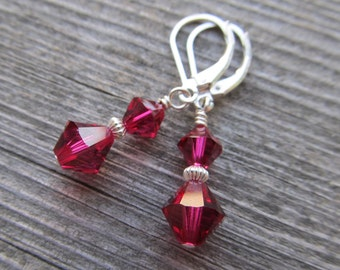 Birthstone Swarovski Crystal and Sterling Silver Earrings Birthday Bridesmaids