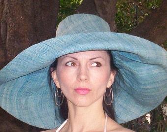 Linen Straw Extra Wide Brim  Sun Hat