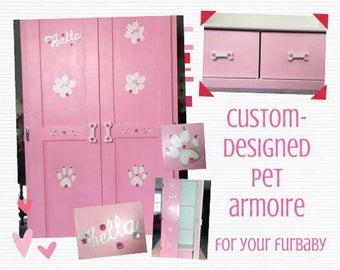 Armoire LG Pet, garde-robe pour animaux de compagnie, conçu, sur mesure à la main peinte, chien placard, Cabinet de vêtements pour animaux de compagnie, placard garde-robe chien, animal meuble, armoire de chien