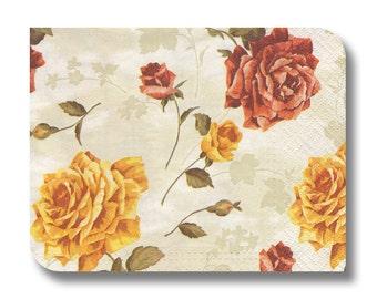 Vintage floral paper napkin for decoupage x 1 Autumn Flowers. No 1285