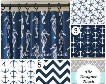 "TWO Navy Blue Curtain Panels.Window Treatments.Drapery.Nautical Curtains.Geometric Chevron Curtains.63"" 84"" 96"" 108"".Any Fabric"