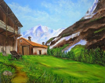 """Painting on canvas """"Farm in the pastures"""""""