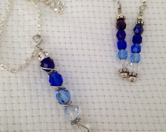 Blue ombré necklace and earrings