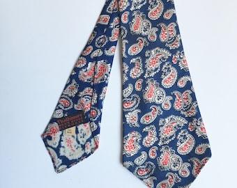 Paisley necktie   vintage 60s necktie   red white blue necktie   thalhimers necktie