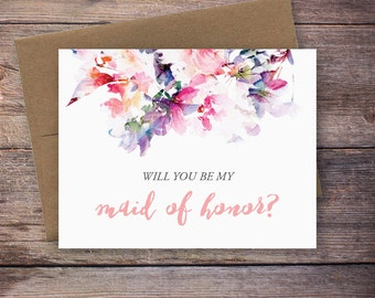 Printable Will You Be My Maid of Honor Card - Instant Download Greeting Card - Will You Be My Bridesmaid Instant Download - Wedding Card