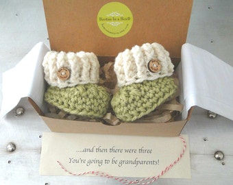 Grandparent Pregnancy Announcement, BOOTIES IN A BOX® Ribbed Cuffs with Wood Buttons, Newborn Baby Booties, Expectant Mother Gift