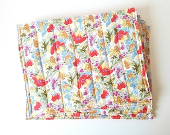 Orange fabric placemats, Quilted spring placemats, Floral design, Set of four place mats