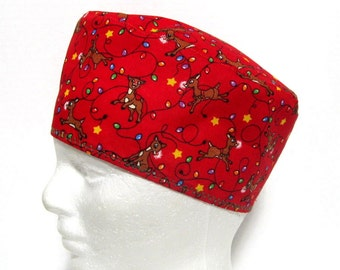 Surgical Cap or Scrub Hat Mens Christmas Lights and Reindeer