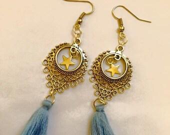 Earring ear tassels dangling charms sky blue Rose