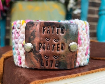 Faith Bracelet, Christian Jewelry for Women,  Colorful Metal Stamped Bracelet, Knit Cuff, Wrist Tattoo Cover
