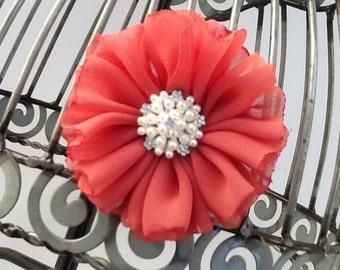 Mauve hair clip, dark mauve flower w/ fancy pearl hair clip, mauve hair accessory, girls hair clip, mauve hair flower,  hair accessory