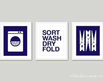 Laundry Room Art Prints  - Set of 3 - Laundry Wall Art - Laundry Decor - Modern Home Decor - Navy Blue and White - Sort Wash Dry Fold