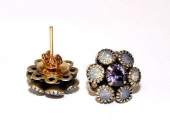 Womans Swarovski stud earrings, purple and opal color, womans, modern, boho, vintage style, elegant, earrings, gold plated - Free shipping!