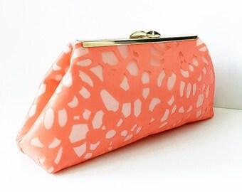 Coral Lace Clutch