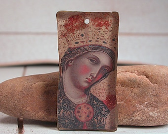 Resin Focal Bead, Resin Pendant, Rustic Mixed Media, The Madonna, Religious Jewelry, Divine Spark Designs, SRA