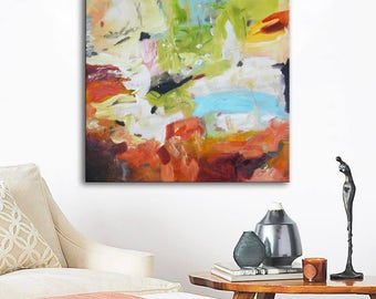 Square floral abstract art, Abstract Painting on canvas, abstract landscape, white blue painting, blue and orange painting, original art