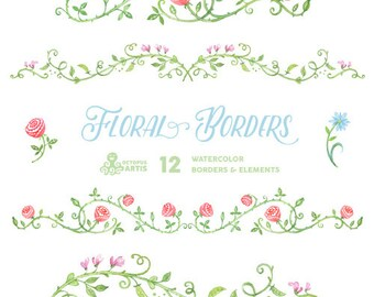 Floral Borders & Elements. 12 Digital Clipart. Hand painted, wedding elements, flowers, invitation diy, frames, embellishment, ornamental.