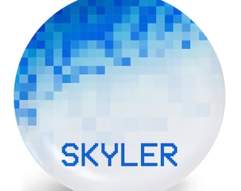 Pixel Plate - Blue - Child's Plate - Child's Bowl - Gamer Melamine Bowl or Plate Personalized (Plastic)