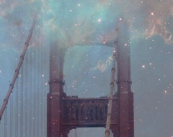 Golden Gate Bridge photograph - Starry Night - 8x10 photograph - San Francisco fine art print - fantasy photography - California art