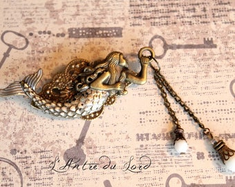 """Brooch pirate Victorian white Mermaid """"The call of the sea"""""""